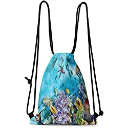 Waterproof bags Ocean,Corals Fishes Jellyfish Scatefish Starfish in Shallow Underwater,Pale Blue Purple and Yellow W13.8 x L17 Inch Practical Unise