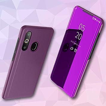 Funda para Samsung Galaxy A30 Estuche Espejo Elegante Cover de Función Inteligente Case para Dormir Despertar Vista Inteligente Carcasa para Samsung Galaxy A30(Rosa púrpura): Amazon.es: Electrónica