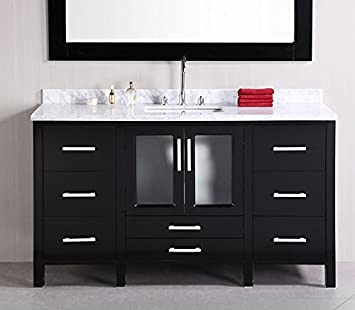 Design Element Stanton Single Drop In Sink Vanity Set With Espresso Finsh,  60