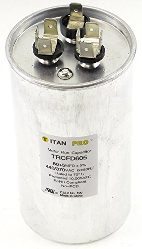 - Titan TRCFD605 Dual Rated Motor Run Capacitor Round MFD 60/5 Volts 440/370