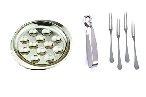 Set of Stainless Steel Plate Dishes Tong 4 Forks for Snail Escargot 12 Compartment ()