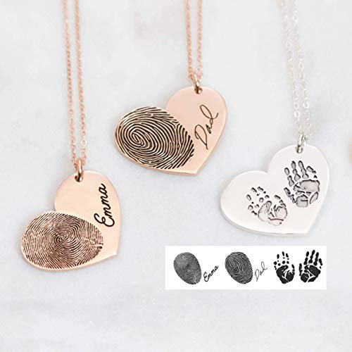 Actual Fingerprint Necklace Engraved Fingerprint Handwriting Jewelry Custom Heart Charm Memorial Necklace Personalized Gift
