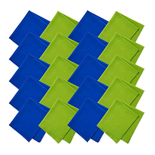 EMAAN 20 Packs - Microfiber Cleaning Cloth 6x7 inches for All Soft Surfaces, Cleaning Lenses, Glasses, Screens, Mobile Phones, Tablets, Camera Lenses, Musical Instruments (Spring Green + Royal Blue)