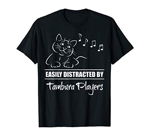 Curious Cat Easily Distracted by Tambura Players Whimsical T-Shirt