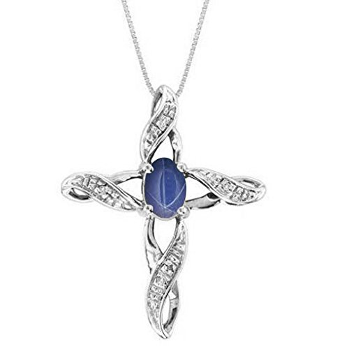 Diamond & Blue Star Sapphire Cross Pendant Necklace Sterling Silver or 14K Yellow Gold Plated (Blue Sapphire Star Pendant)