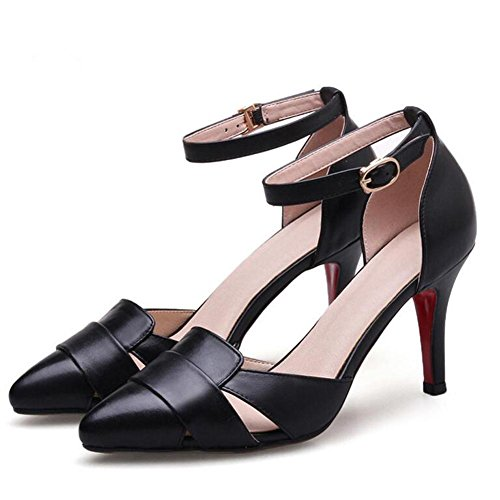 Word Heels Women'S High Big Sandals Pointed Black Buckle With Word Baotou Leather qZR7Yn7S