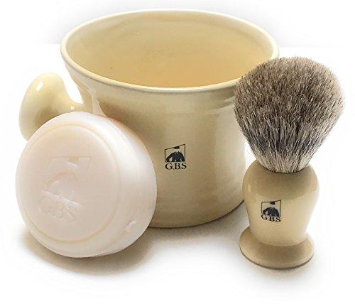 Men's Shaving Set Ivory -3 Piece set -- Pure Badger Shaving Mug, Brush and 97% All Natural Ocean Driftwood Shave Soap