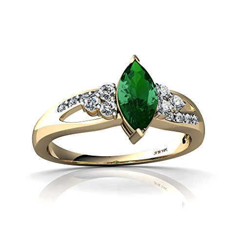 14kt Yellow Gold Lab Emerald and Diamond 8x4mm Marquise Antique Style Ring - Size 4.5
