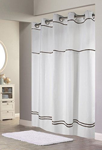 HOOKLESS ESCAPE SHOWER CURTAIN WITH SNAP-IN LINER, WHITE WITH BROWN STRIPE, 71 IN. X 77 IN.