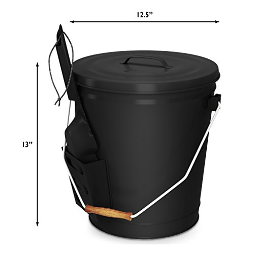 Home-Complete HC-7004 4.75 Gallon Black Ash Bucket with Lid and Shovel-Essential Tools for Fireplaces, Fire Pits, Wood Burning Stoves-Hearth Accessories by Home-Complete (Image #5)