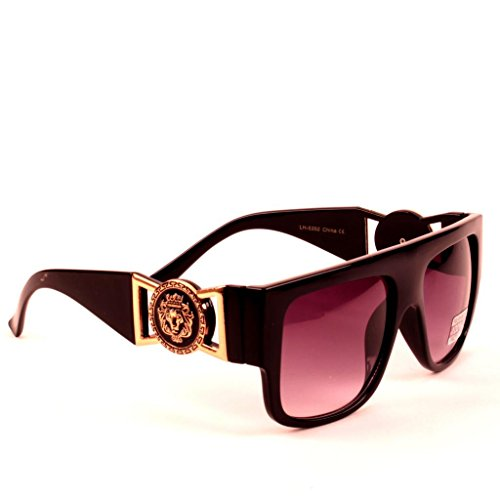 Black Gold Lion Head Medallion Wayfarer Sunglasses Black Lens - Wayfarers Gold Black And