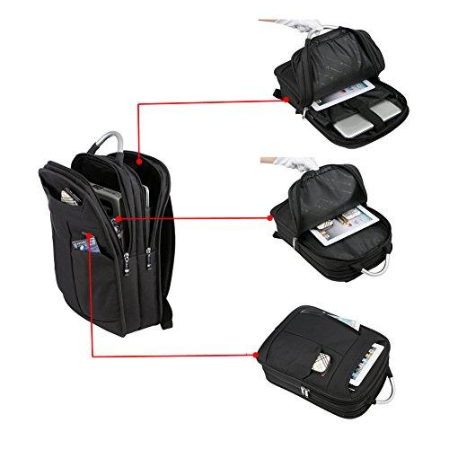 "Mochila para Portátiles 15.6"" Mochilas Negocio Backpack Laptop Impermeables Escolares Gris Noir 2"