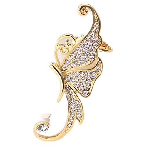 WIIPU women 1PCS Gold White Crystal Butterfly Ear Cuffs Left (Cuff White Gold Earrings)