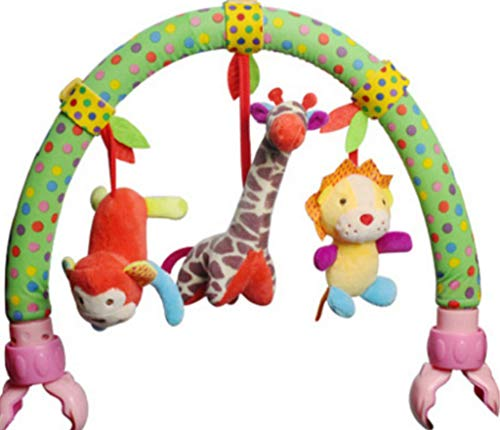 Binory Infant Activity Arch with Fascinating Hanging Play Soft Stuffed Animal Plush Toy,Hanging Bell Fits Stroller & Pram,Soothing Baby Sleep Natural Teether and Shaker Toy,Children's Day Gift(B) for $<!--$19.99-->