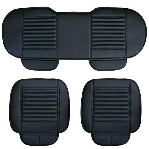 (D-Lumina Black PU Leather Car Seat Cushion Set,Front & Rear Back Row Bottom Seat Cover Pad Mat for Auto Interior Chair Protector,3D Breathable Bamboo Charcoal,Universal Four Season,3-Pack )