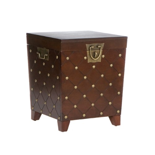 Nailhead End Table Storage Trunk – Expresso Finish w Decorative Handles – Transitional Style