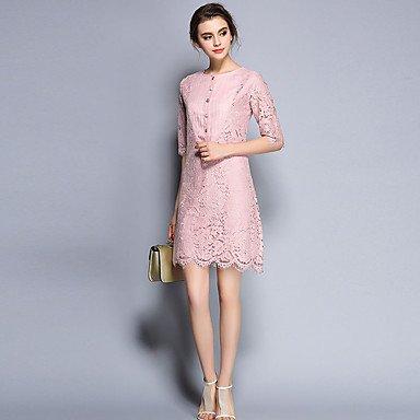 PU&PU Robe Aux femmes Trapèze / Gaine Vintage,Couleur Pleine Col Arrondi Au dessus du genou Coton / Rayonne , pink , l