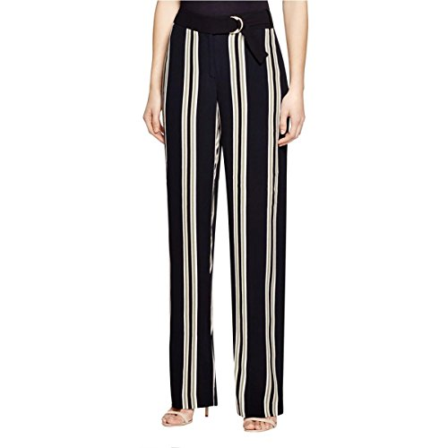 Womens Striped Wide Leg Casual Pants Black  & White Striped