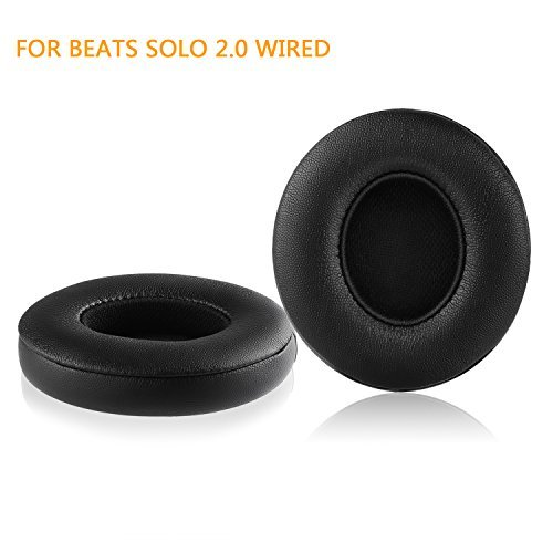 Beats Solo 2 Wired Replacement Earpads - JARMOR Protein Leather & Memory Foam Ear Cushion Pads for Beats Solo2 Wired On-Ear Headphones by Dr. Dre ONLY (NOT FIT Solo 2.0/3.0 Wireless) - Black