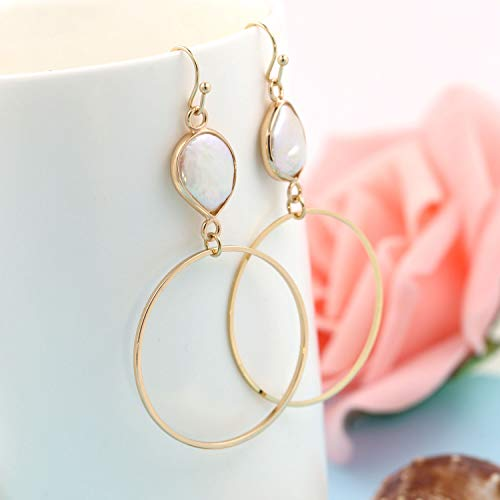 24aea62ed COZLANE 14K Gold Large Teardrop Pearl Circle Dangle Earrings Mother of Pearl  Loop Drop Earring for