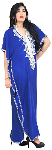Moroccan Caftan Hand Made Top Quality Breathable Cotton with Hand Embroidery Long Length Blue by Moroccan Caftans (Image #2)