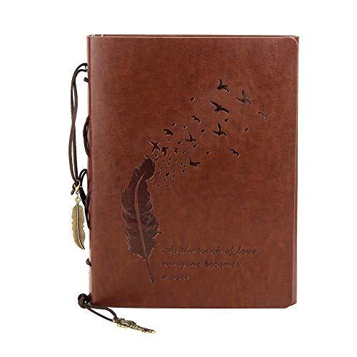 (Retro Pu Notebook Diary Notepad Sketch Handmade Birthday Wedding, A5brown)