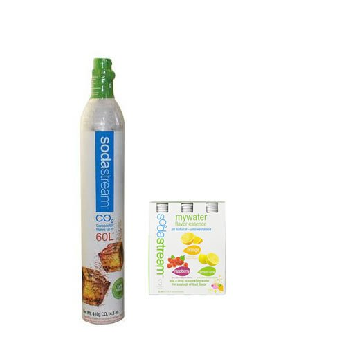 SodaStream 60-Liter Carbonator-Spare Cylinder and SodaStream My Water Variety All Natural, 3ct,, 40ml - Unsweetened Soda Mix, includes Lemon-Lime Orange Raspberry