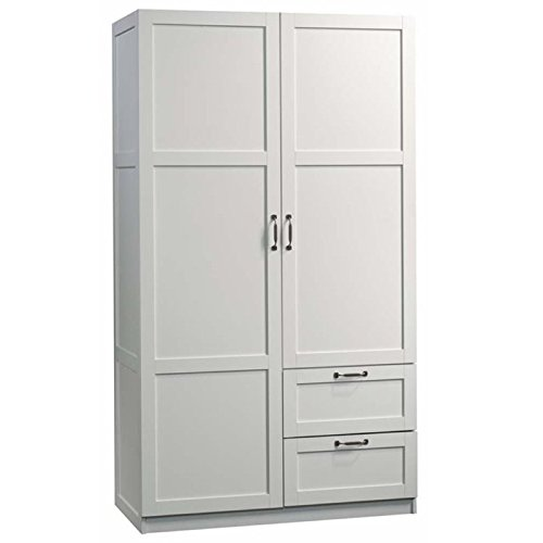 """Pemberly Row 71"""" 2-Drawer Wardrobe Armoire in White"""