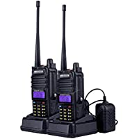 2-Pack NKTECH UV-7RX Tri-Power High/Mid/Low 5W 3W 1W IP57 Waterproof Dustproof VHF UHF Dual Band Two Way Radio Walkie Talkie Transceiver Power by 1800mAh 7.4V Li-ion Batteries Accessories