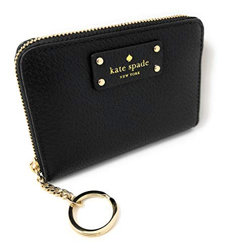 (Kate Spade New York Kate Spade Grove Street Dani Leather Zip Around Wallet Key Chain Ring Black, Small)
