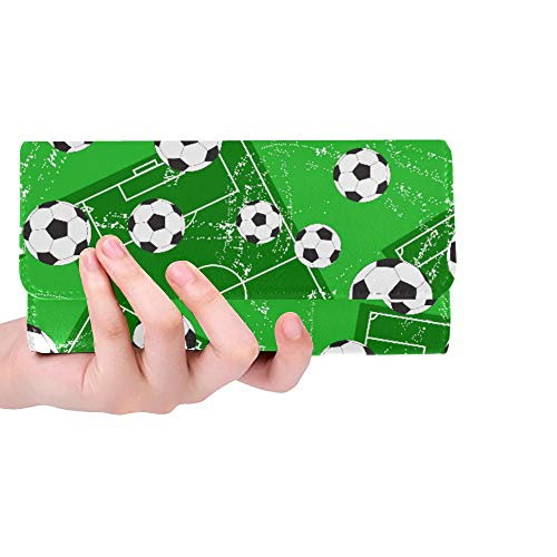 (Unique Custom Background With Football Gate And Soccer Ball Women Trifold Wallet Long Purse Credit Card Holder Case Handbag)