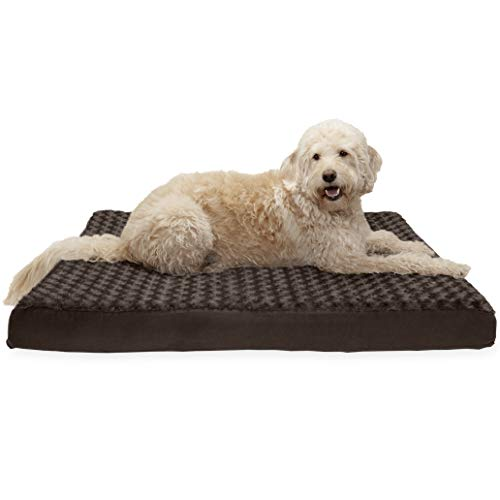 FurHaven Pet Dog Bed   Deluxe Cooling Gel Memory Foam Orthopedic Ultra Plush Mattress Pet Bed for Dogs & Cats, Chocolate, Jumbo