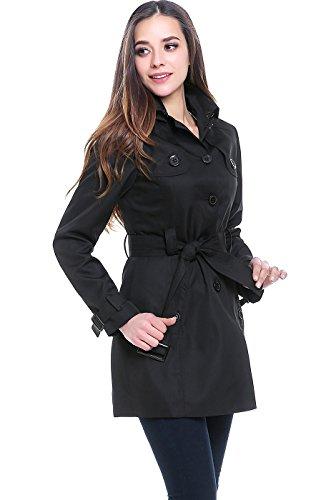 Belted Mid Length Coat - BGSD Women's Celia Hooded Mid Length Trench Coat - Black XS