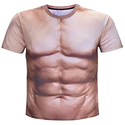 Colygamala Men's Funny 3D Muscle Print T-Shirt Funny Body Print T-Shirt for Male