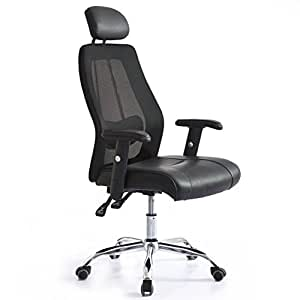 High Back Mesh Executive Chair, Office Chair with PU Seat and Height Adjustable Armrest, Black