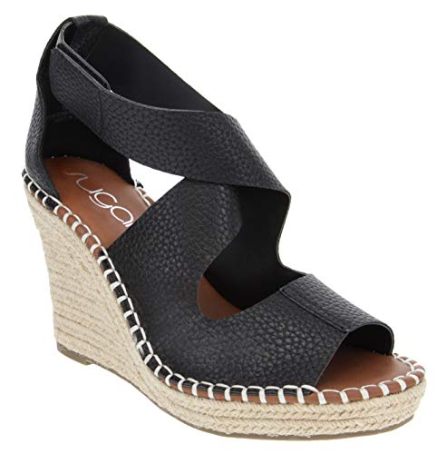 Sugar Women's Hazee Espadrille Wedge Sandal with Cross Straps and Adjustable Closure 6 Black