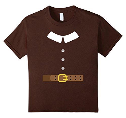 Early Settler Costume (Kids Thanksgiving Pilgrim Costume Halloween T-Shirt Men Women 4 Brown)