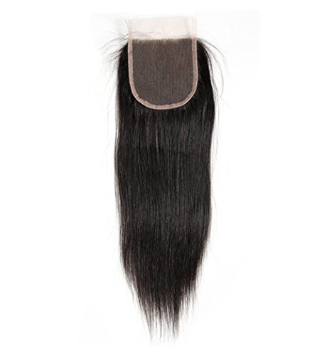 VGTE Hair 4x4 Brazilian Lace Closure Straight Unprocessed Human Hair Top Closure Bleached Knots Natural Hairline with Baby Hair Free Part Closure (08inch) - Human Hair Top