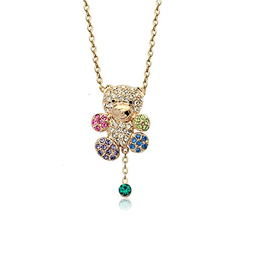 Gold Plated Animal Teddy Bear with Multi-color Swarovski Elements Crystal Pendant Necklace Fashion Jewelry for (Swarovski Crystal Teddy Bear)