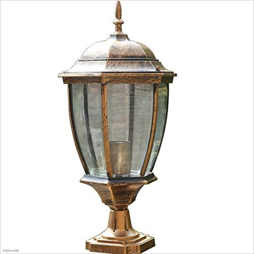 ZDYLL European Wall Pillar Light Led Waterproof Column Headlight Outdoor Gate Traditional Antique Wall Aluminum Garden Light Post Lantern (Color : Brass, Size : Large)