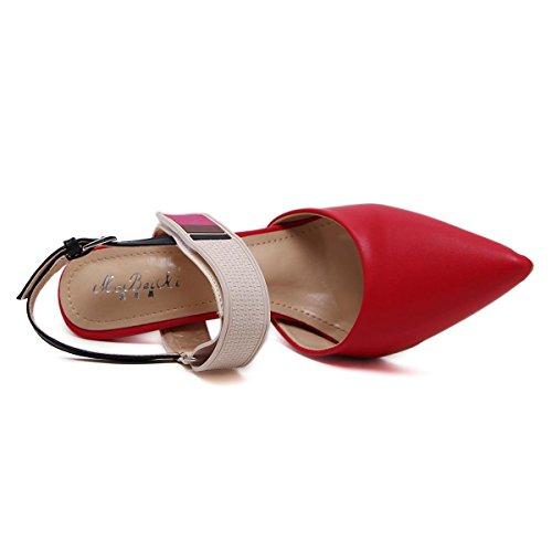 Damas Nueva Red Punta Baja Zapatos Boca Moda Altos Color Lucha yc Tacones Mujeres Gradiente Bomba L Rn60Xwn