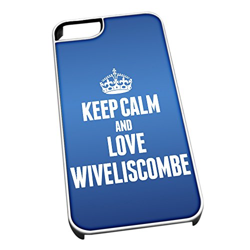 Bianco cover per iPhone 5/5S, blu 0733 Keep Calm and Love Wiveliscombe