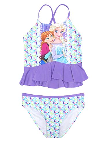 Fashion Girls Disney Frozen Elsa & Anna 2 Piece Swimsuit, Purple, Medium 7/8
