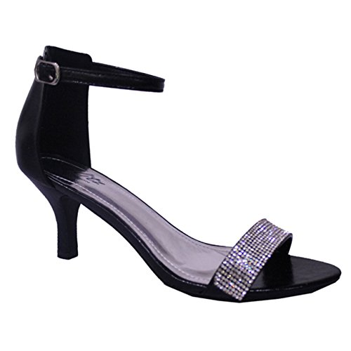 7477c1af7d9 Patent Diamante Strappy Low Mid Heel Barely There Sandals