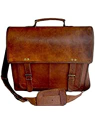 Handolederco Leather 18 Inch Retro Leather Briefcase Laptop Messenger Bag
