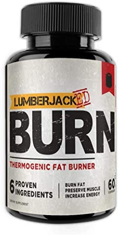 LUMBERJACKED Burn – Thermogenic Fat Burner Supplement – Preserve Muscle, Boost Energy, Improve Focus, Burn Fat – Acetyl L-Carnitine, Green Tea Extract – 60 Capsules