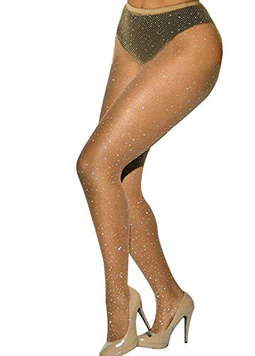 Betteraim Women's Hollow Out Rhinestone Fishnet Pantyhose Tights ()