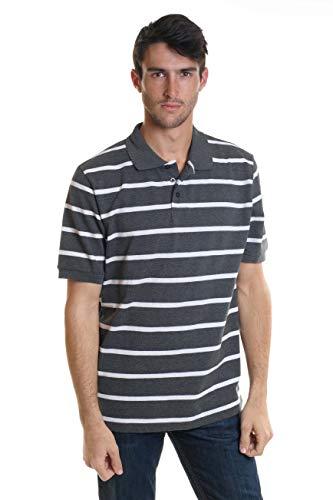 YAGO Men's Short Sleeve 3 Buttons Striped Pique Polo Shirt New (Grey/White, Medium) (Mens Striped Pique Polo)
