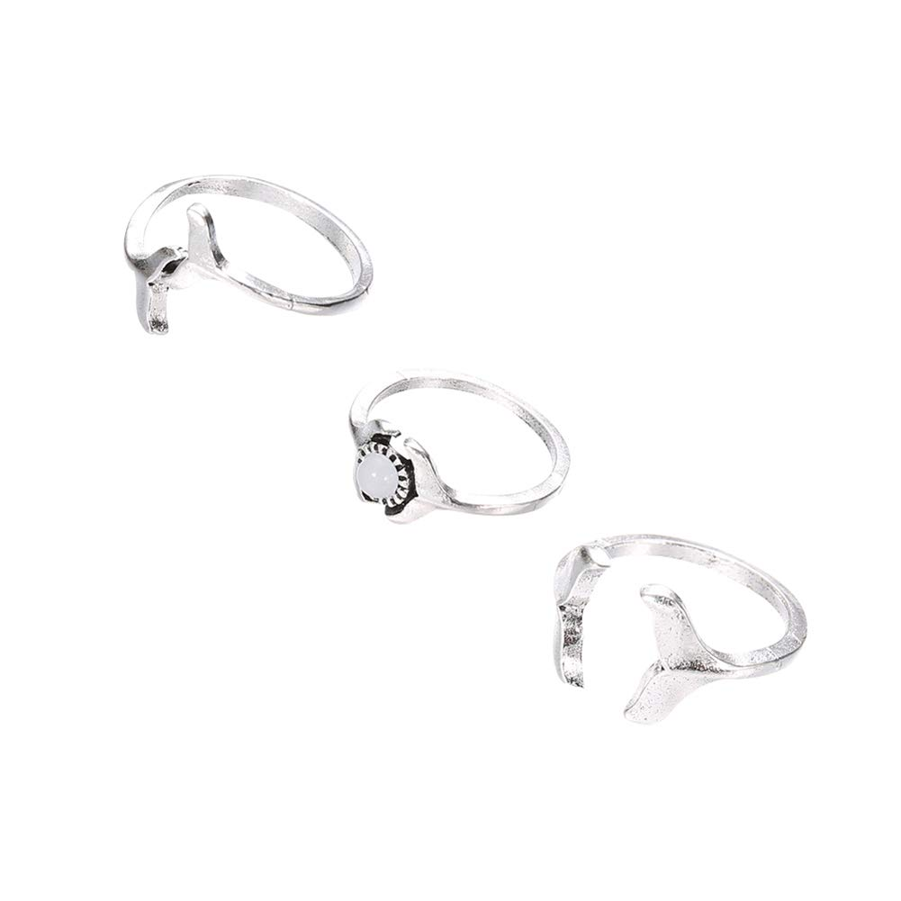 ink2055 3Pcs/Set Women Ladies Rings Fashion Whale Tail Faux Gemstone Midi Knuckle Finger Ring Jewelry - Silver