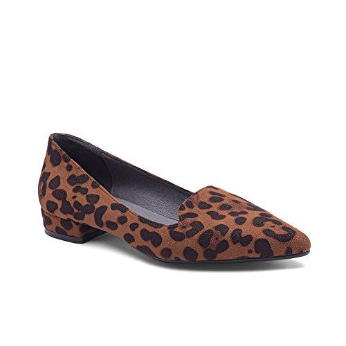 MeetU_JHX Comfort Shoes Leopard Print Pointed Toe Flats for Women (8.5 B(M) US) (Print Suede Flats)